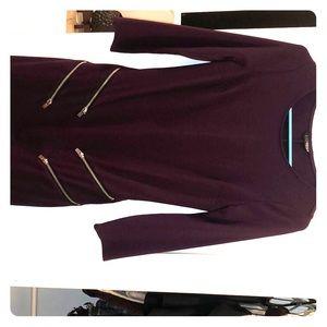 Express body con burgundy two zipper front dress